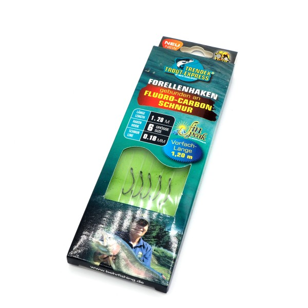 Trendex Forellenhaken gebunden an Fluoro Carbon Schnur Grösse 6 1.20m