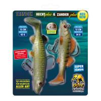 Trendex Hecht + Zander 3D Softbait Natur Köder 2er Set 15cm 12cm