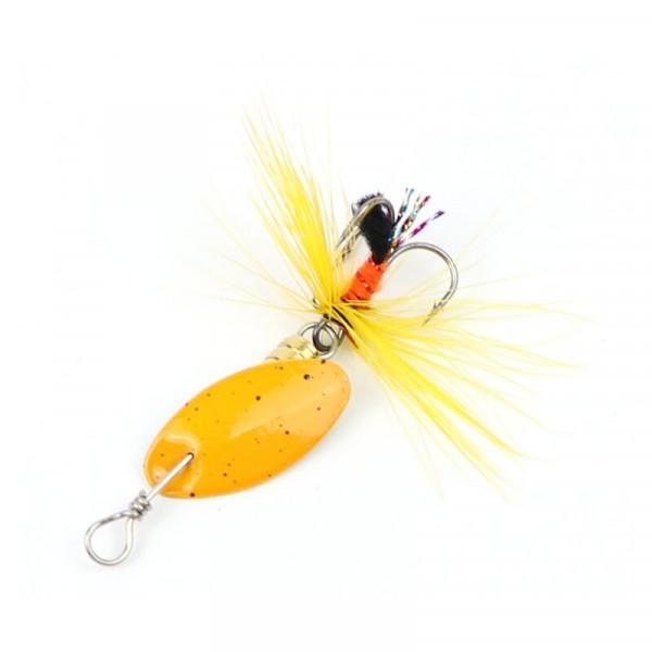 Major Fish Ultralight Spinner Köder mit Fliege Gelb 5cm 3gramm